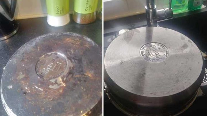 Woman reveals she got blackened old grease off pan by using a 10p dishwasher tablet and vegetable peeler