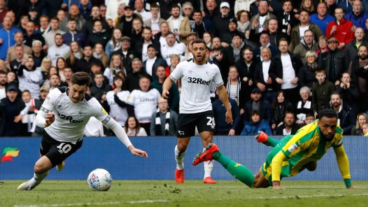 Derby star Tom Lawrence could be banned for BOTH play-off ties against Leeds for diving