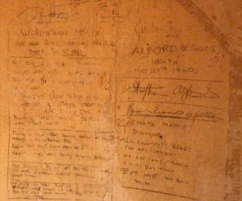 Couple discover fascinating graffiti from World War II while stripping wallpaper in their new home