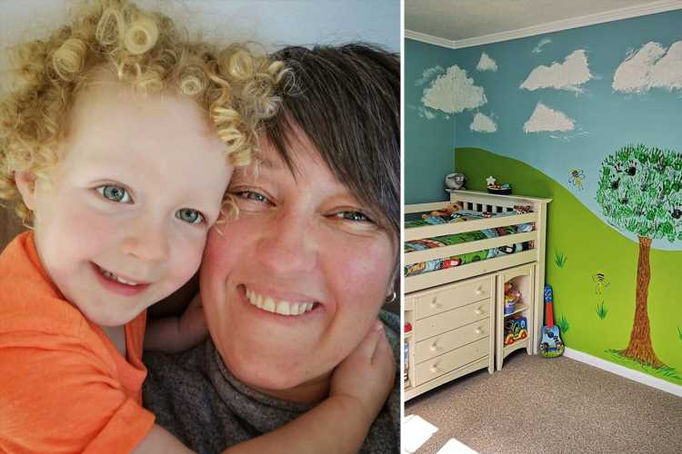 Mum transforms her child's room for £40 by creating a mural using her son's hand and footprints