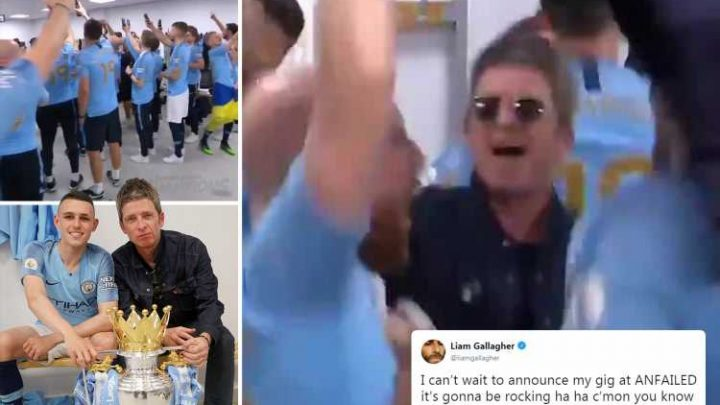 Noel Gallager and Man City belt out Wonderwall in dressing room to celebrate title