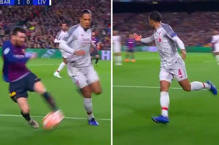 Watch Virgil Van Dijk 'beg for help from Andy Robertson' in dealing with Messi against Barcelona