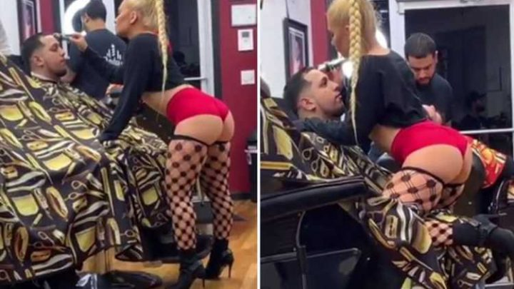 Scantily clad barber who gives punters a lapdance while cutting their hair goes viral – The Sun
