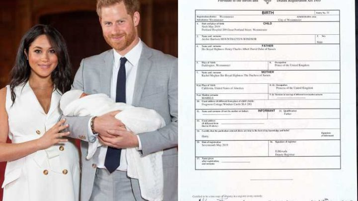 Meghan Markle called 'Princess of the United Kingdom' in Archie's birth certificate that reveals he was born at Portland Hospital and not at home as she wanted