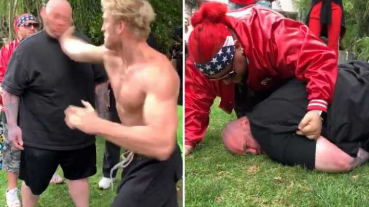 Watch the brutal moment Logan Paul slaps man UNCONSCIOUS after pulling out of upcoming competition in Russia