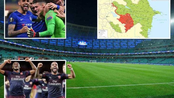 Europa League terror risk as Government warns 70,000 Brit fans flying to Chelsea v Arsenal clash in Azerbaijan attacks are LIKELY
