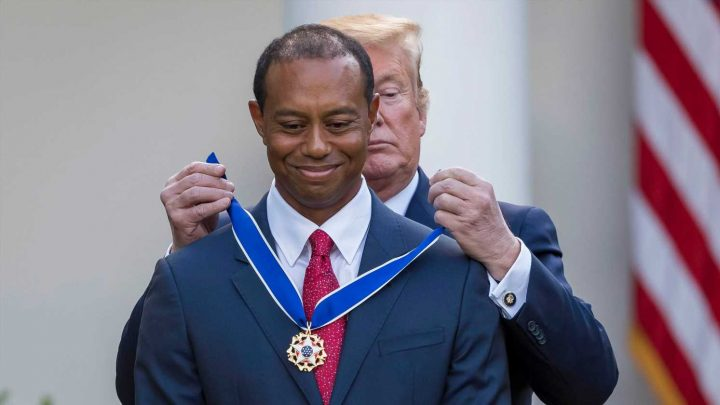 Tiger Woods receives Presidential Medal of Freedom from Donald Trump at White House