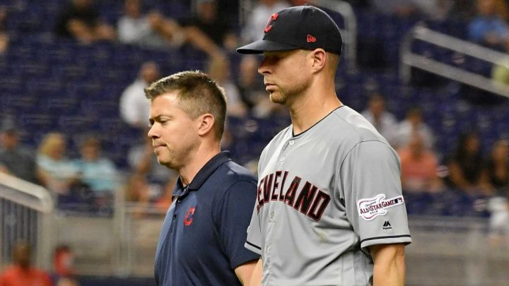 Indians pitcher Corey Kluber suffers fractured arm after being hit by line drive
