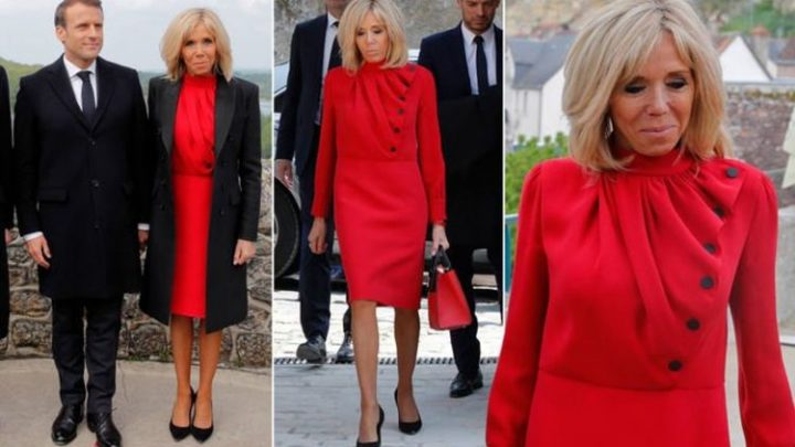 Brigitte Macron shows off tanned legs in bright red dress to honour Leonardo da Vinci