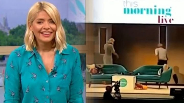 ITV This Morning: Holly Willoughby in hysterics as Phillip Schofield FALLS off stage