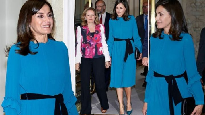 Queen Letizia stuns in £10 Zara dress to attend a debate in Madrid today