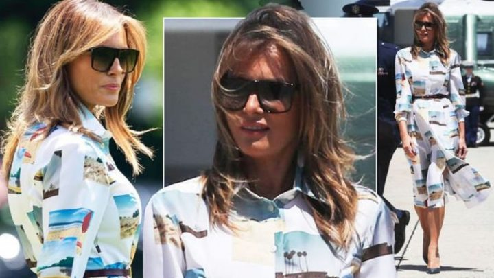 Melania Trump wears a £2,615 dress to fly to Japan with husband Donald