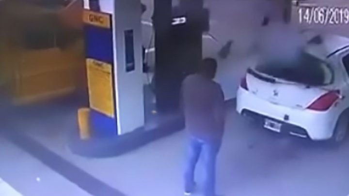 Explosion at petrol station blasts cloud of cocaine out of alleged dealer's car