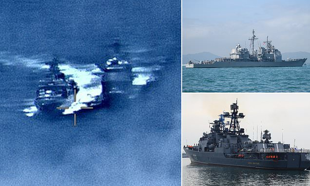 Russian and US warships narrowly avoid colliding in the East China Sea