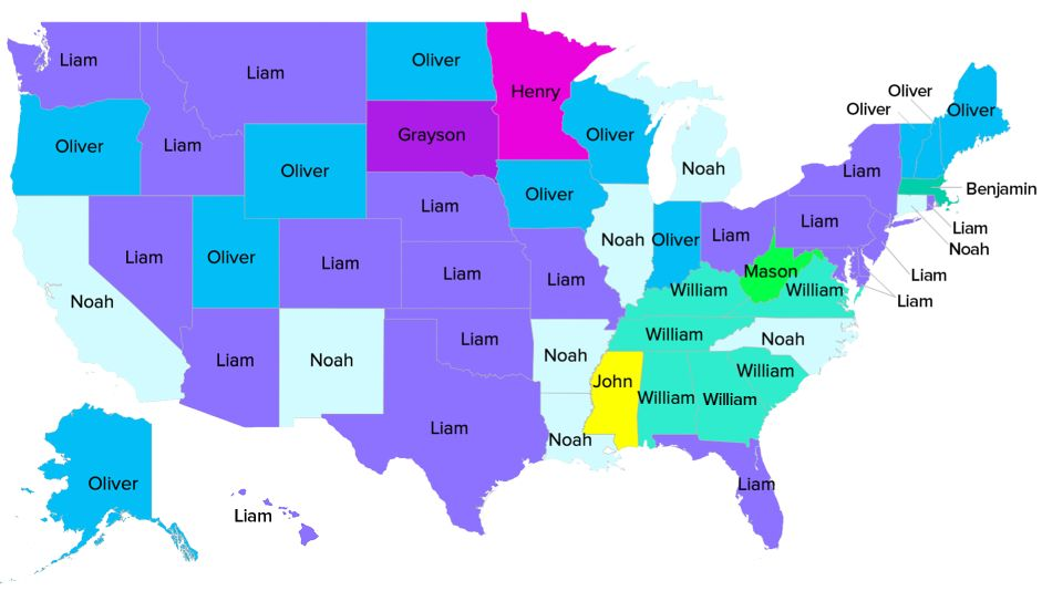 These Were The Most Popular Baby Names In Every State In 2018