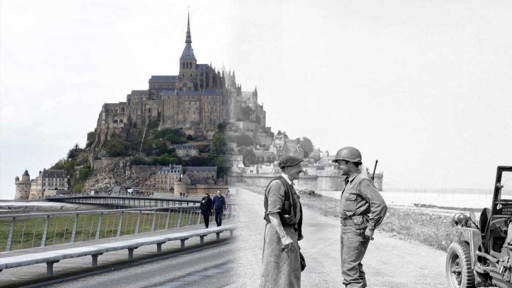 Dramatic photos show scenes from D-Day, then and now