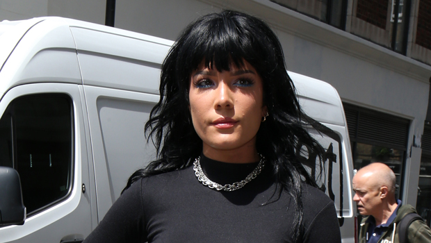 Halsey Channels Joan Jett As She Rocks Black Mullet, Crop Top & PVC Pants – See Sexy Pics