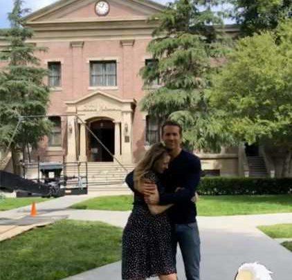 Pregnant Blake Lively Shares a Sweet Hug with Husband Ryan Reynolds During Free Guy Set Visit