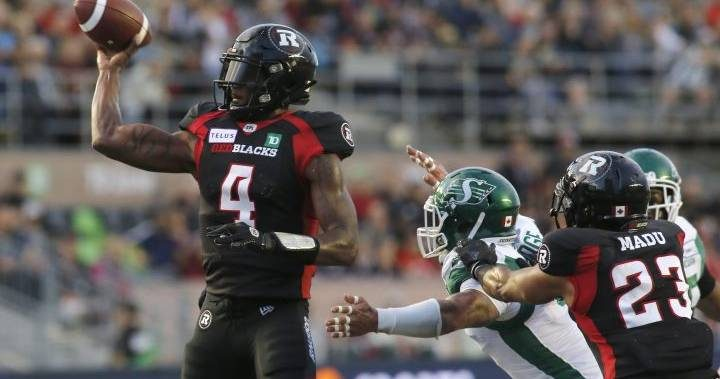 Ottawa Redblacks get huge offensive performance in win over Saskatchewan Roughriders
