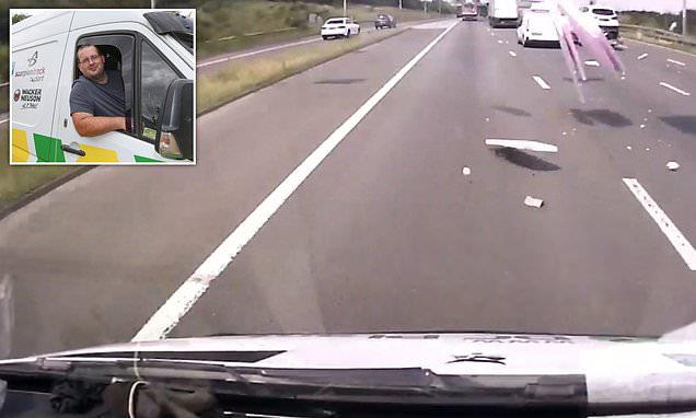 Dashcam footage shows van driver's near misses