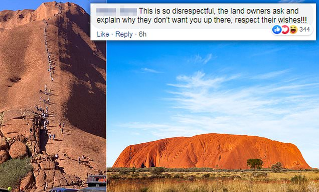 Outrage as hundreds of tourists flock climb Uluru before it's banned