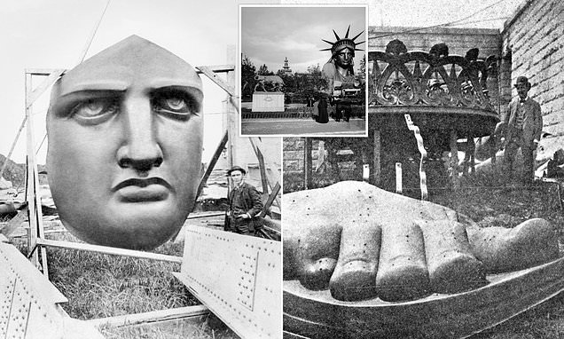 Striking images show the Statue of Liberty on display in Paris