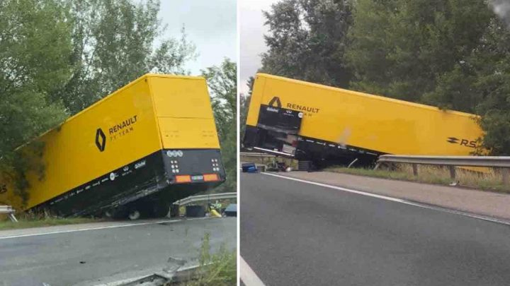 Renault F1 truck hangs off side of motorway after crash on way to Hungarian Grand Prix – The Sun