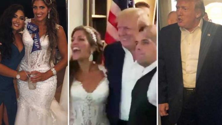 Donald Trump crashes wedding reception as delighted bride and groom lead guests in chant of 'USA! USA!' – The Sun