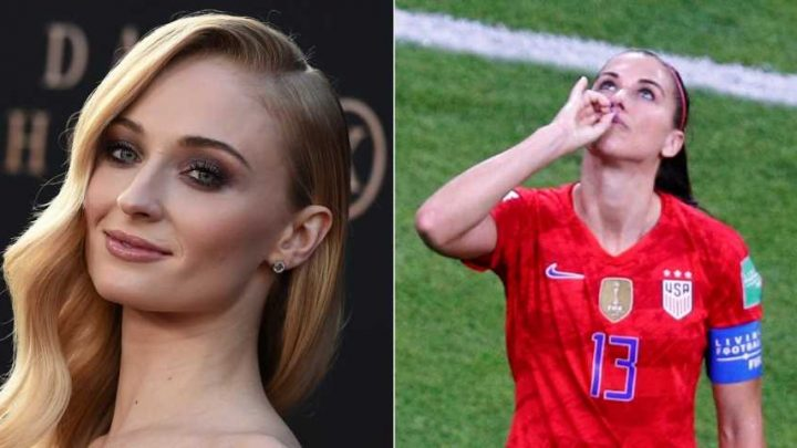 'Game of Thrones' star Sophie Turner supports Alex Morgan's World Cup tea celebration and slams the millennial haters 'sitting at home drinking kombucha'