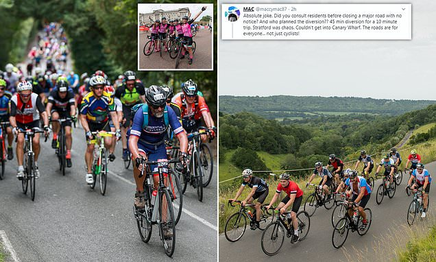 Thousands of cyclists ride from London to Surrey and back again