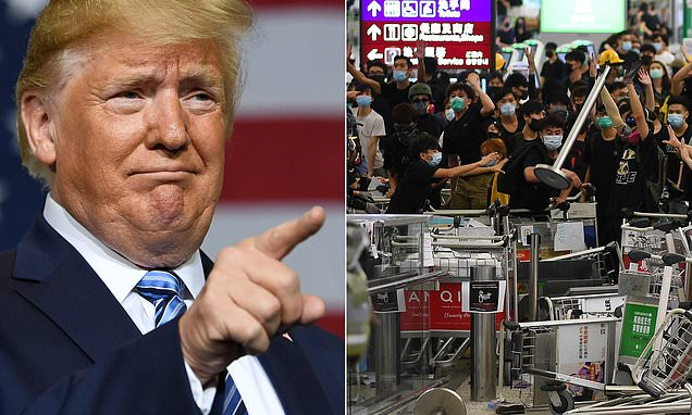 Trump claims he is being blamed for Hong Kong violence