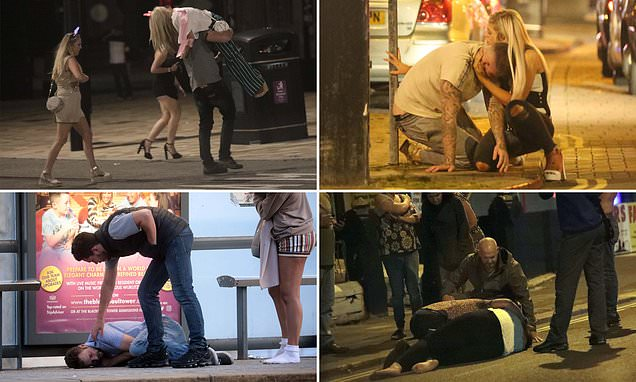 Drunken revellers hit the booze to kick off Bank Holiday weekend
