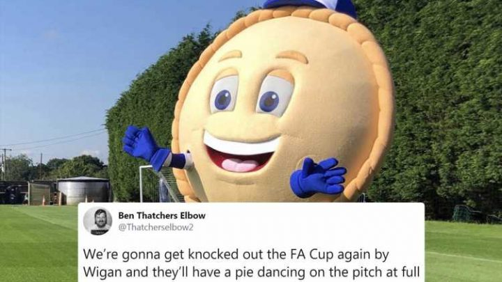 Wigan unveil new Crusty the Pie mascot for this season and fans absolutely love it – The Sun