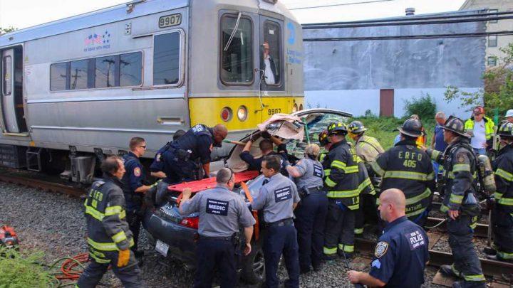 LIRR train slams into car driving on tracks in Nassau County