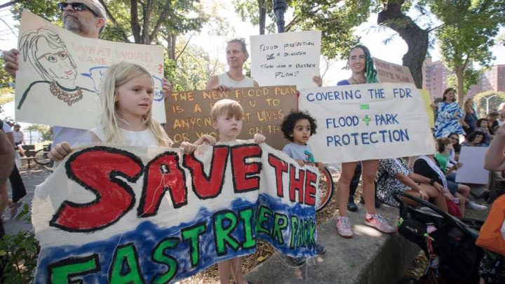Protesters hold mock funeral to urge city to save East River Park