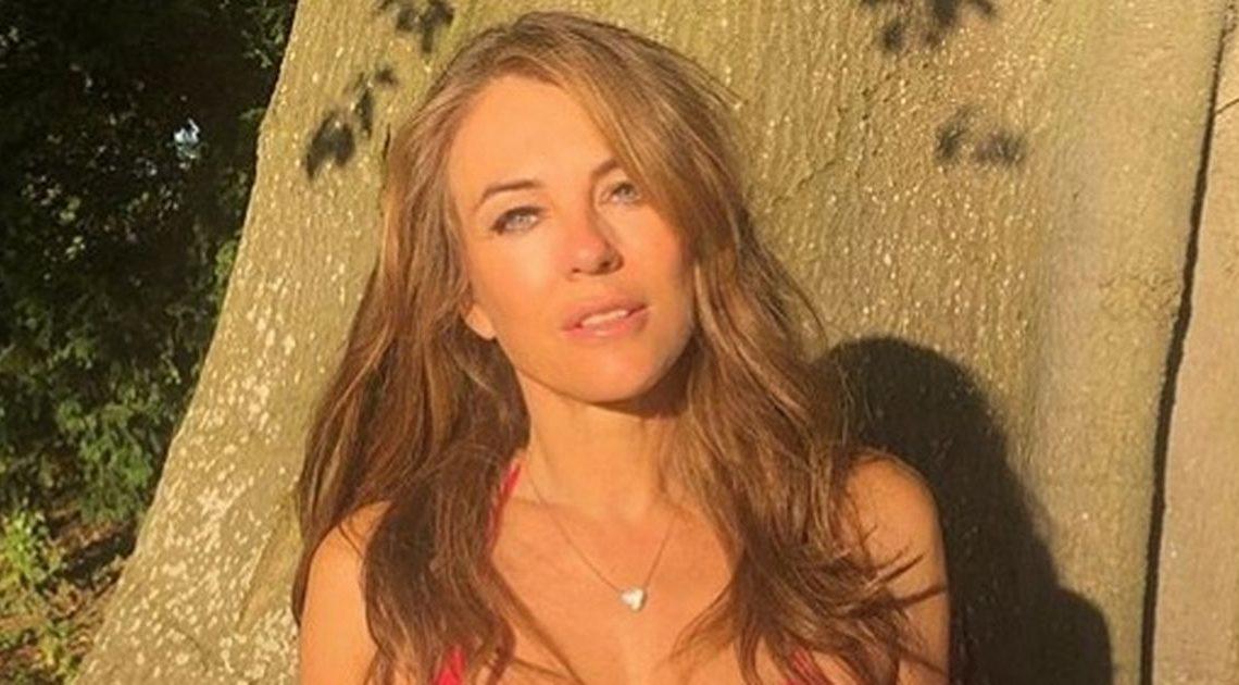 Liz Hurley strips down to tiny bikini and barely-there shorts