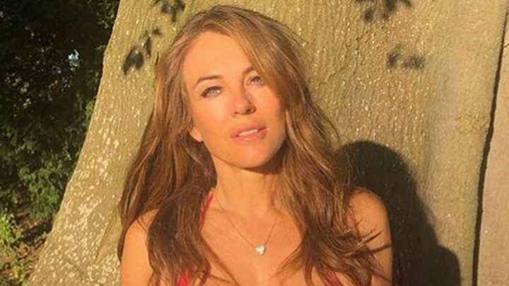 Liz Hurley strips down to tiny bikini and barely-there shorts