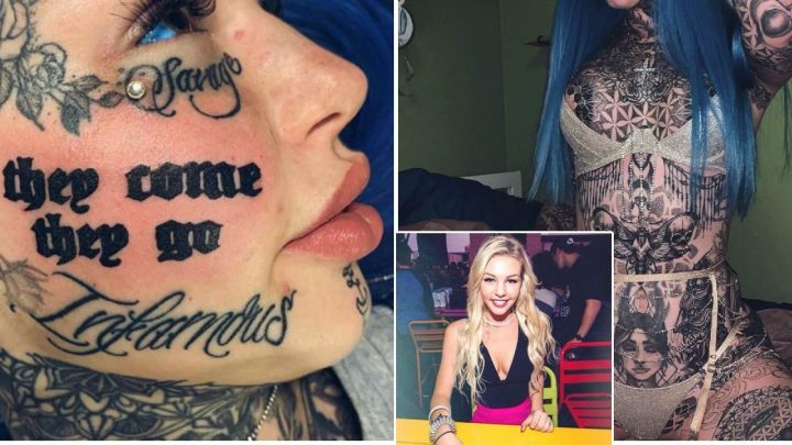 Tattooed model divides opinion by getting giant quote inked on her face