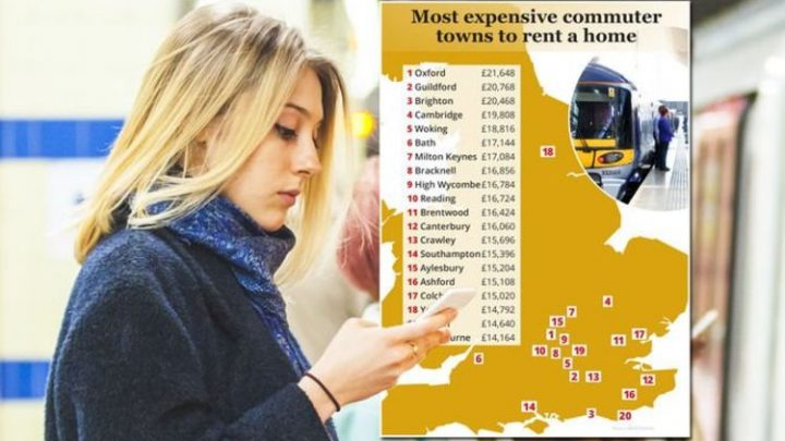 MAPPED: Best commuter towns near London and where you might end up paying £21,648 a year