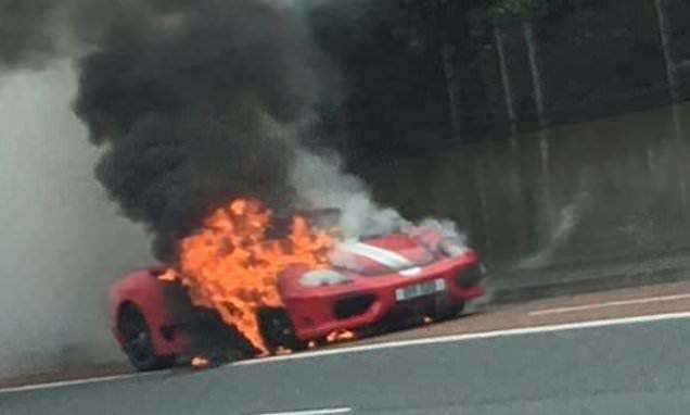 Ferrari is burnt after going up in smoke on Belfast motorway