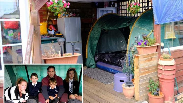 Family-of-eight living in TENT as they 'couldn't afford rent on house