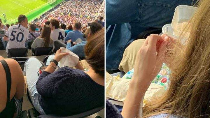 Spurs fan spotted sewing during clash with Crystal Palace sends Twitter into meltdown – The Sun