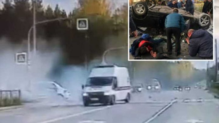 Shocking moment ambulance driver IGNORES fatal accident right in front of him to get petrol instead