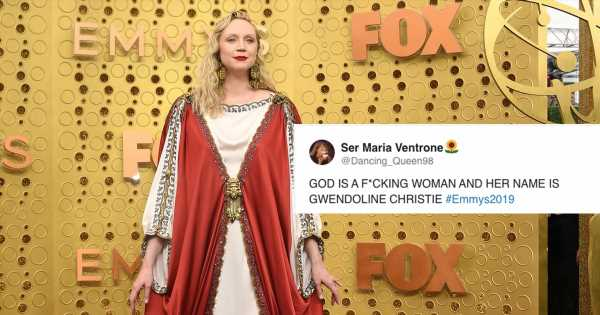 "Gwendoline Christie Arrived at the Emmys and the Internet Said: ""SHESUS CHRIST"""