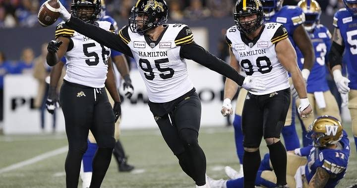 Dane Evans throws three TD passes, leads Hamilton Tiger-Cats over Winnipeg Blue Bombers