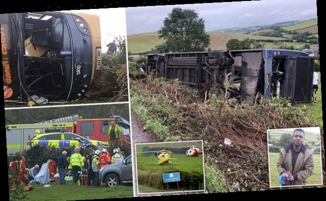 Devon bus crash victim was trapped while his wrist 'poured with blood'