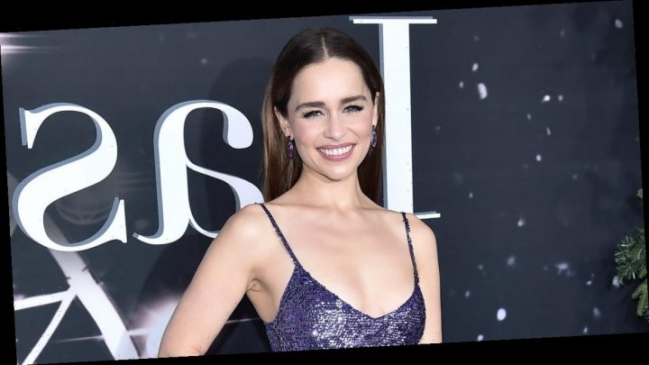 Emilia Clarke Sparkled at the Last Christmas Premiere — Purple Nail Polish Included