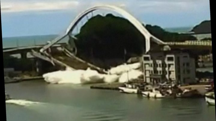 Bridge collapses hours after typhoon strikes island in Taiwan