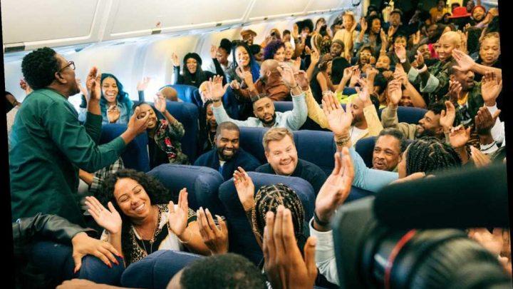 Kanye West's Carpool Karaoke with James Corden is really airplane karaoke