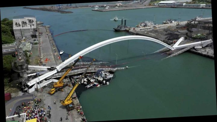 Shocking footage shows arch bridge collapse into harbor, leaving multiple people injured